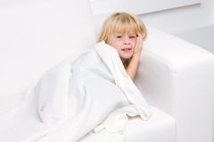 Fine little girl sleeping in bed Royalty Free Stock Photos
