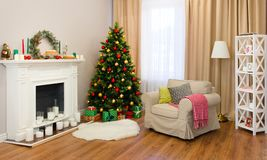 Fine living room decorated for Christmas royalty free stock photo