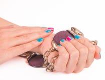 Fine luminosa del manicure su su bianco Fotografie Stock