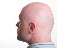 Fine maschio del ritratto in su sul contesto bianco Fotografie Stock