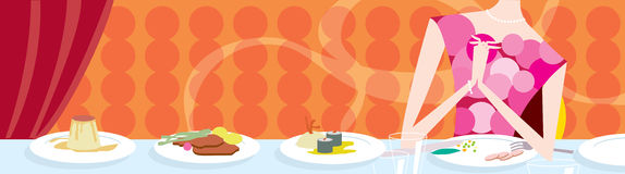 A fine meal on a table. An illustration of a nice meal setting on a table  in a restaurant Royalty Free Stock Image