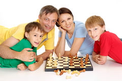 Fine nice family in bright T-shirts Royalty Free Stock Images
