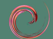 A fine and nice spiral. With pink, red and orange shades on the green background Stock Photo