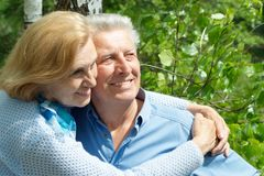 Fine older people are enjoying the fresh air Royalty Free Stock Images