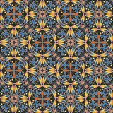 Fine oriental colorful carpet or ceramic ornament in orange and blue colors with white curves on black background Royalty Free Stock Photo