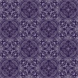 Fine oriental with white filigree calligraphic ornament on deep purple background. Vector symmetric geometric patterns, vetor eps10 Stock Images