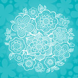 Fine outline bouquet on turquoise background. Fine outline bouquet with butterfly, dragonfly and ladybug on seamless background. It can be used for decorating Royalty Free Stock Photography