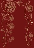 Fine outline decorated background with floral motif in gold metal design Stock Images