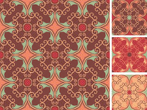 Fine pattern set. Ornament pattern with different colorations Royalty Free Stock Photography