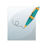 Fine pen icon. Blue fine pen calligraphy drawing writing element. vector illustration Stock Photography