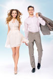 Fine picture of walkinng young couple Stock Images