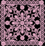 Fine pink square pattern on black. Illustration with pink decoration on black background Royalty Free Stock Photography