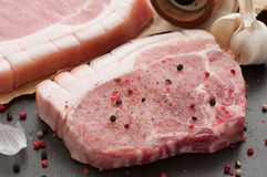 Fine Pork Chops. Butchers fine pork chops spiced with pepper stock images
