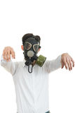 Fine portrait of man with classic old mask gas isolated on white Royalty Free Stock Photography