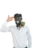 Fine portrait of man with classic old mask gas isolated on white Stock Photo