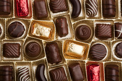 Fine pralines in a box Stock Images