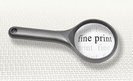 Fine print magnifying glass royalty free stock images