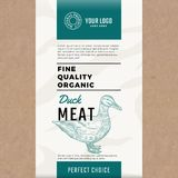 Fine Quality Organic Duck. Abstract Vector Meat Packaging Design or Label. Modern Typography and Hand Drawn Duck. Silhouette. Craft Paper with Meat Texture Royalty Free Illustration