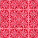 Fine red patterns, filigree geometric lace ornament, tile with repeatable ornate elements in victorian style. Vintage folklore motif, eps10 vector Royalty Free Stock Photo