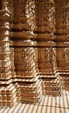 Fine Religious Carves. Gridded Sunshine & Shadow on Fine Carves in a Temple Royalty Free Stock Images