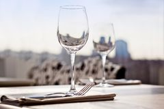 Fine restaurant dinner table place setting Stock Photo