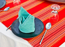 Fine restaurant dinner table place setting Royalty Free Stock Photo