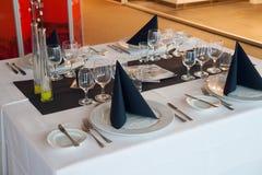 Fine restaurant dinner table place setting Stock Photos
