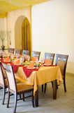 Fine restaurant dinner table place Royalty Free Stock Photography