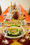 Fine restaurant dinner table place Stock Image