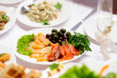 Fine restaurant dinner table Royalty Free Stock Photos
