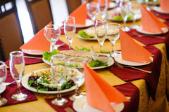Fine restaurant dinner table place Stock Images