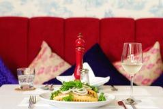 Fine restaurant dinner table place setting Stock Image