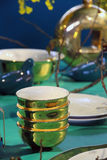 Fine restaurant dinner table setting Royalty Free Stock Images