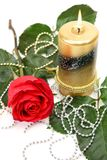Fine rose and candle Stock Image