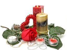 Fine rose and candle Royalty Free Stock Image