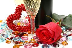 Fine rose and champagne Royalty Free Stock Photo