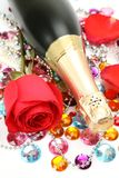 Fine rose and champagne Stock Images