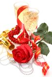 Fine rose and wine Stock Images