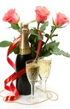 Fine roses and champagne Stock Photography