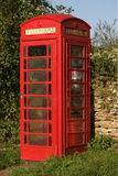 Fine rossa del contenitore di telefono in su fotografia stock libera da diritti