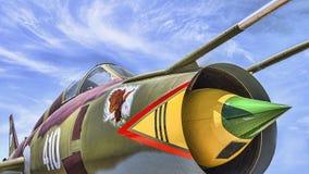 Fine russa dell'aereo da caccia su fotografia stock libera da diritti