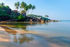 Fine sand on a tropical beach. And sea waves Royalty Free Stock Photos