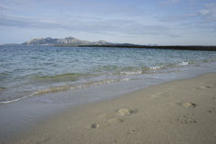 fine sandy beach with footprints of people on its surface Royalty Free Stock Images
