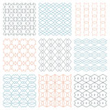 Fine seamless patterns. Set of seamless patterns in thin line style. Color print on white background Royalty Free Stock Images