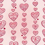 Fine seamless vector pattern with hearts. Royalty Free Stock Image