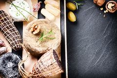 Fine selection of dry meat, sausages and French cheese Royalty Free Stock Image