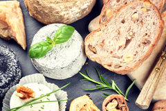 Fine selection of French and Italian cheese Royalty Free Stock Photo