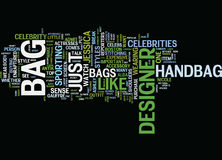 Fine Sense Of Designer Bags Text Background Word Cloud Concept Royalty Free Stock Photography