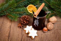 Fine served mulled wine Royalty Free Stock Images