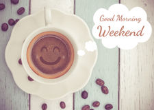 Fine settimana di buongiorno con la tazza di caffè Immagine Stock Libera da Diritti